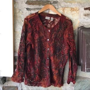 Chicos Red/Orange Lace Top, Sz 2